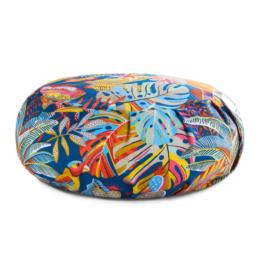 zafu coussin de meditation rond multicolore tropicale