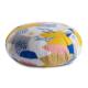 zafu coussin de meditation rond motifs graphiques jaune bleu rose et blanc