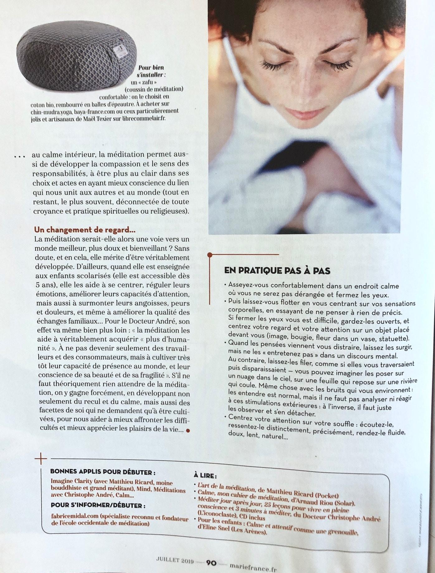 Magazine Marie France la clé d'un bon équilibre