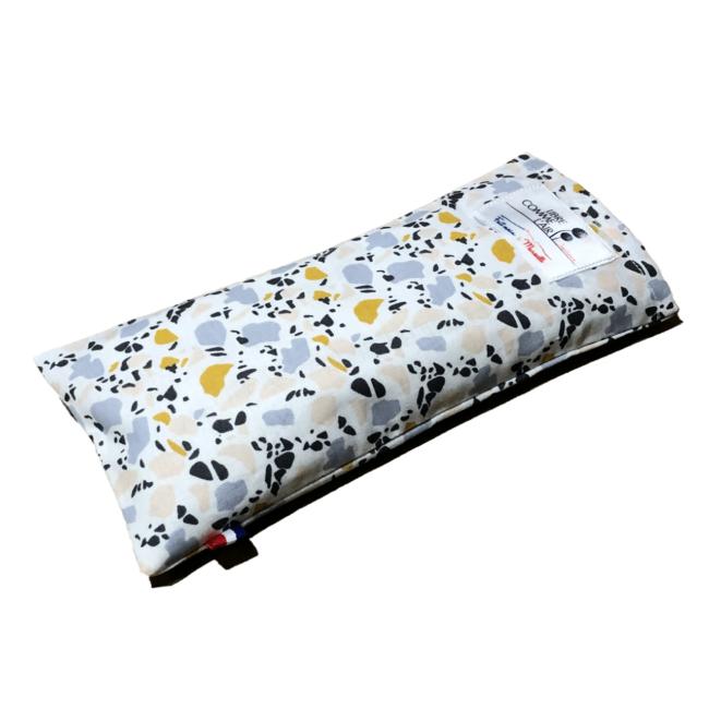 Bandeau relaxant pour les yeux à la lavande motifs terrazzo or et bleu pastel